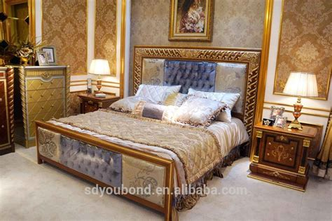 Antique Wood Bedroom Furniture 0062 2 Foshan Antique Wooden Bedroom Furniture Sets Luxury Gold Foil Noble Bedroom View