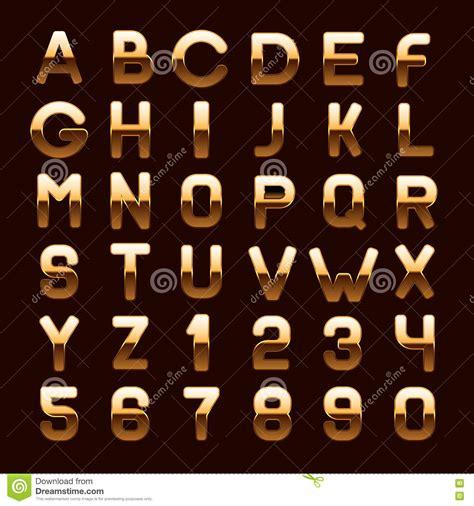 Gratis Illustratie S Brief Alfabet Alfabetisch Abc de gouden metaal glanzende letters en de getallen abc