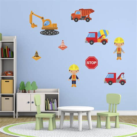 construction wall stickers boys construction site wall stickers pack by mirrorin notonthehighstreet
