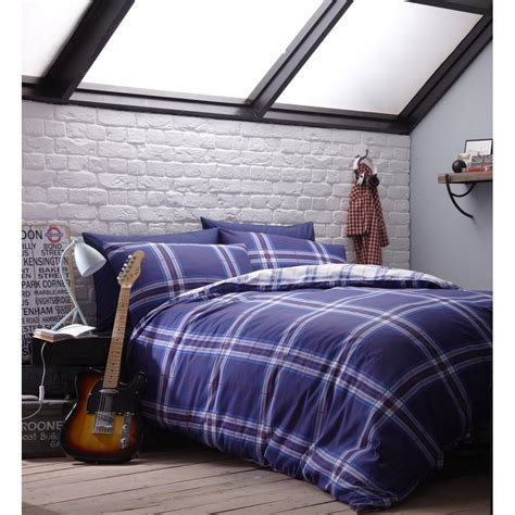 catherine lansfield catherine lansfield atlanta reversible blue and white check cotton rich duvet cover catherine
