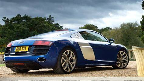 audi r8 wallpaper blue 2009 audi r8 v10 back pose in blue wallpaper