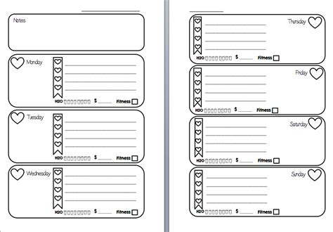 free printable personal planner inserts week on two pages filofax inserts printable hearts