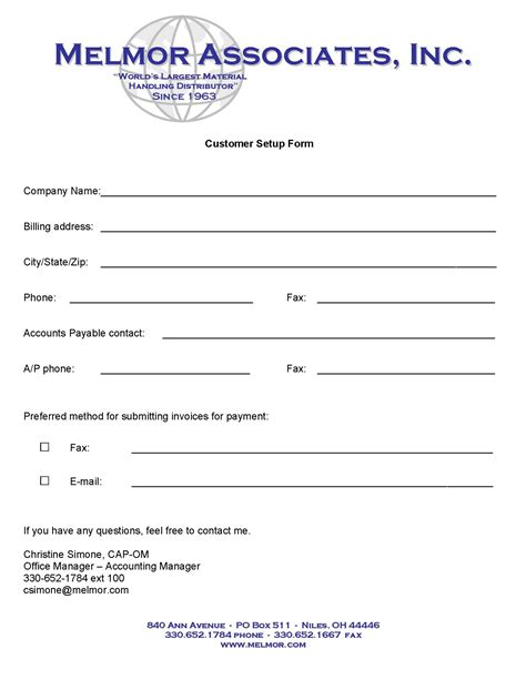 customer setup form template new accounts melmor associates inc
