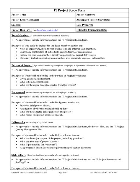 project scope document template objective sle statements 28 images objective statement