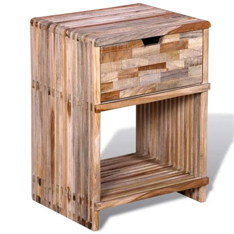 comodino legno comodino con cassetto in legno anticato di teak vidaxl it