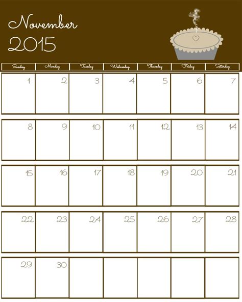 printable calendar november 2015 pdf november 2015 calendar thanksgiving image king