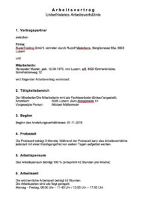Musterbrief Kündigung Arbeitsvertrag Kostenlos Arbeitsvertrag Muster Muster Vorlage Ch