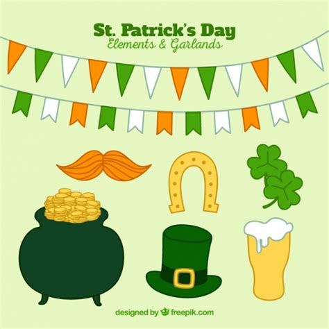 st s day items pack of typical st s day items vector free