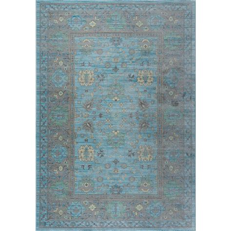 Home Depot Area Rugs 4x6 Tayse Rugs Heritage Aqua 3 Ft 11 In X 6 Ft Area Rug Hrt1119 4x6 The Home Depot