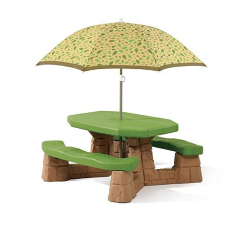 Children S Picnic Table With Umbrella by Step2 Naturally Playful Picnic Table Umbrella Leaf
