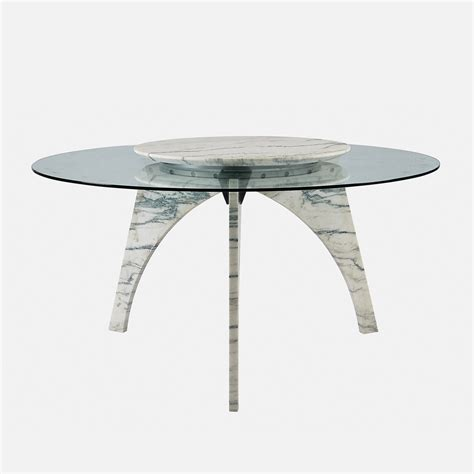 Rotating Dining Table Lazy Susan White Marble Dining Table