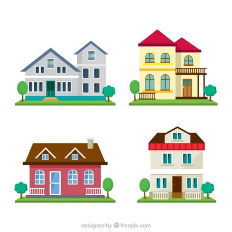 pack casa pack de cuatro casas con jard 237 n descargar vectores gratis