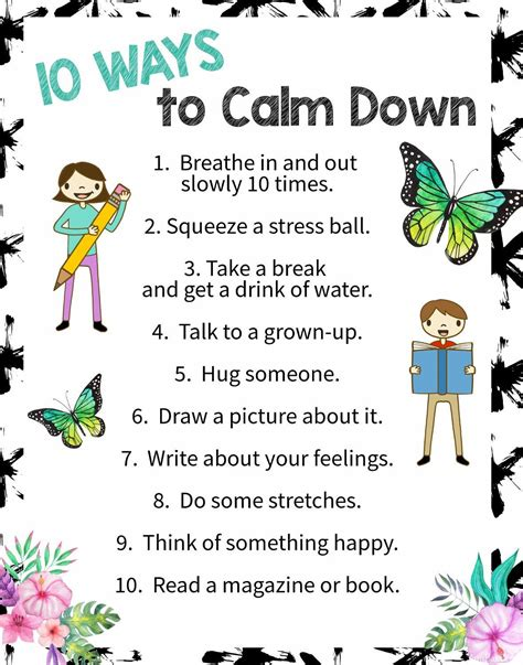 printable mindfulness poster 10 ways to calm down a free printable poster free