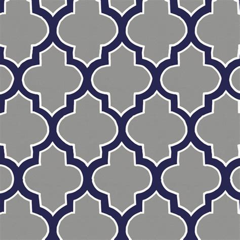 Bed For Toddler Boy Cloud And Navy Hand Drawn Quatrefoil Fabric By The Yard