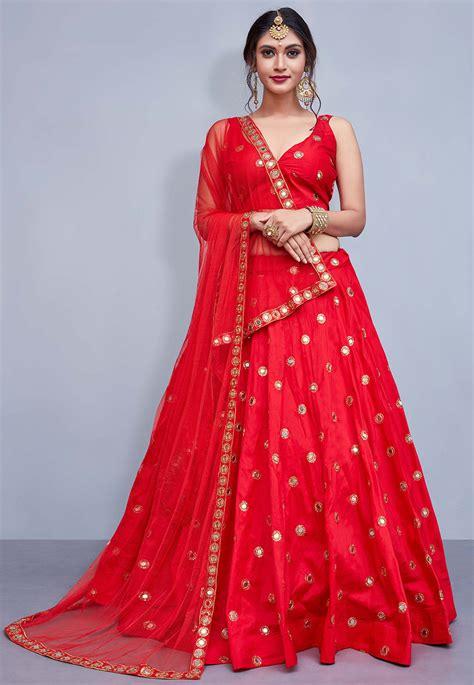 embroidered taffeta silk lehenga  red lyc