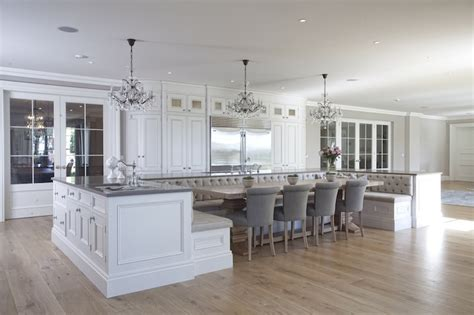 kitchen island with bench seating banquette seating island transitional kitchen hayburn and co