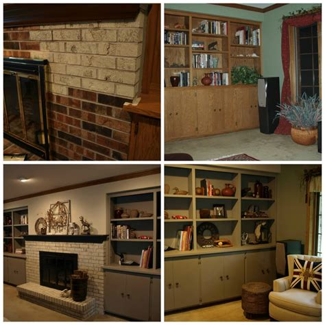 brick fireplace with oak mantel brick fireplace mantel and oak built in cabinetry painted