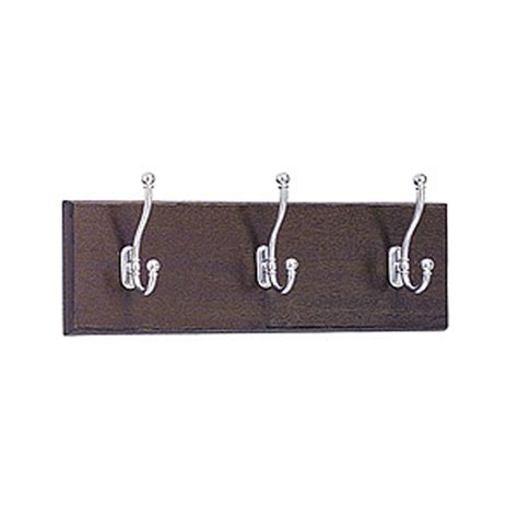 wall mounted coat rack 4216mh wooden wall mounted coat rack 3 hooks 18 quot w x 3 25 quot d x 6 75 quot h mahogany base with chrome