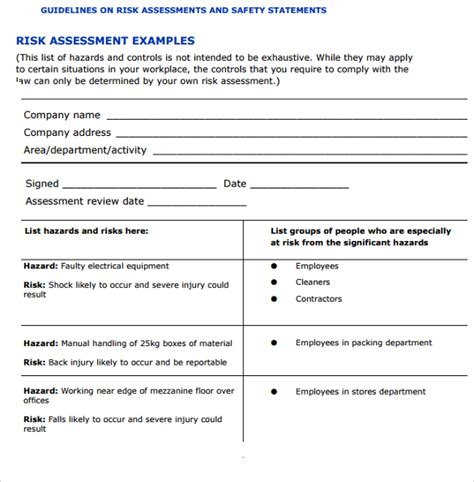 sle it risk assessment template 12 free documents in