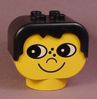 lego heads with hair lego duplo 2303 yellow 2x4x3 figure head with black male
