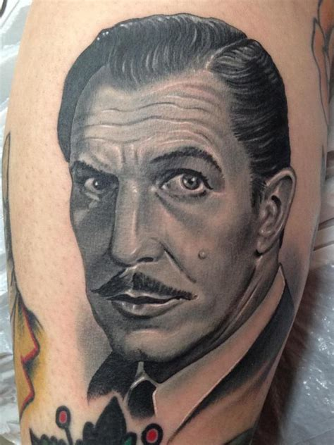 nate beavers tattoo black and gray vincent price portrait by nate