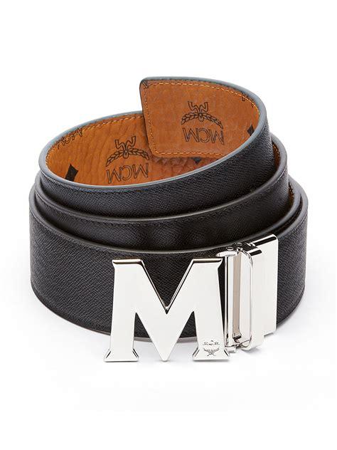 mcm monogrammed leather belt for lyst