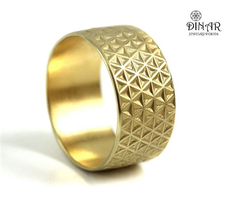 Wedding Ring Enlargement by Wide Gold Wedding Band Band Textured Wedding Band 14k