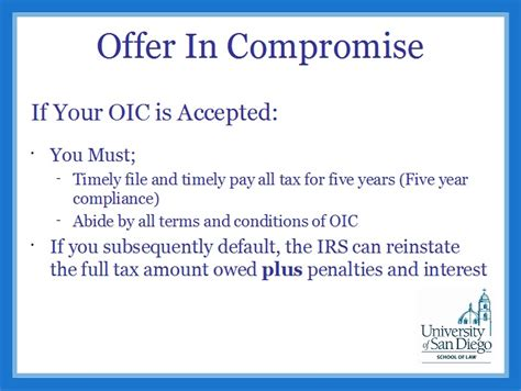 Offer In Compromise Letters Improving Second Chances Federal Tax Clinic Notes Usd Clinics