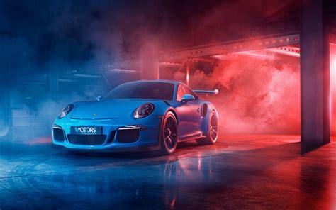 wallpaper  blue car smoke porsche  gt sport car