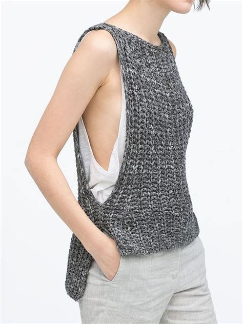 sleeveless knitted jersey pattern sweater design knitted tank top and inspiration on pinterest
