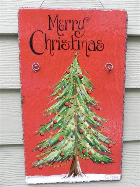 christmas tree merry christmas hand painted slate