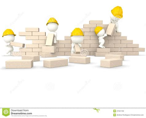 building a wall 3d guys building a wall stock illustration image of