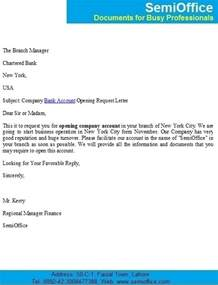 Request Letter Format For Bank Account Name Change Company Bank Account Opening Request Letter