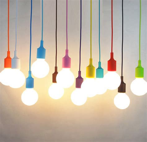 Colorful Light Fixtures Modern Colorful Silicone Pendant Lights For Bar Restaurant E27 Pendant L Hloder 1 Meter Cable