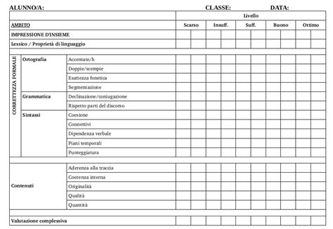prove d ingresso liceo classico griglia di valutazione dei temi scuole medie e biennio