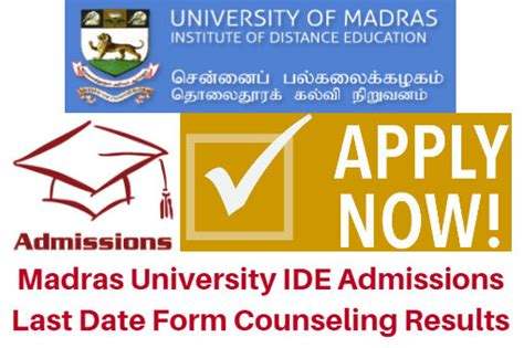 Last Date For Mba Admission In Madras Distance Education by Madras Ide Admissions 2018 Last Date Form