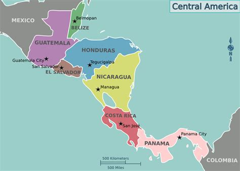 map of mexico central america punta