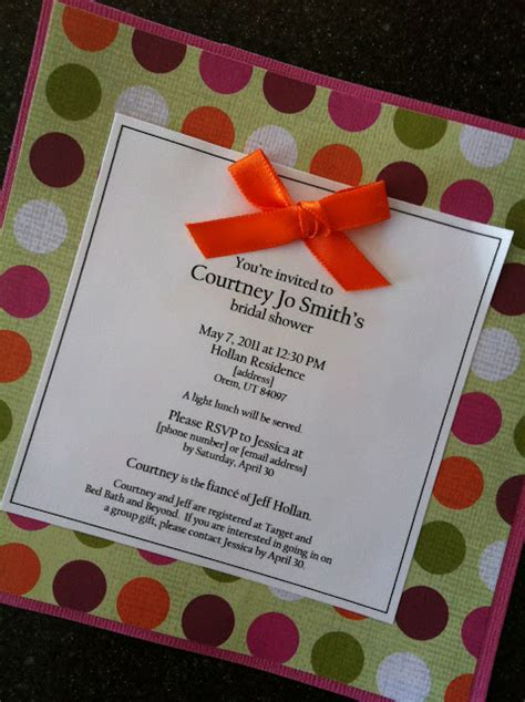 Handmade Bridal Shower Invitations - utah county easy handmade bridal shower invitation