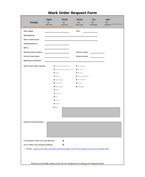 work order form template excel excel work order template 9 free excel document