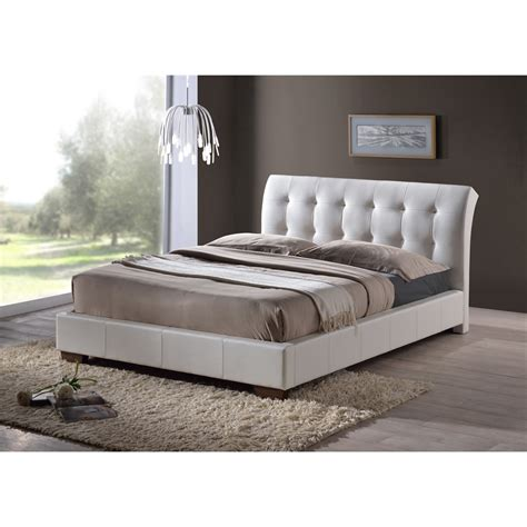 White Modern Bed Frame White Modern Design Faux Leather Bed Frame King Size 5ft
