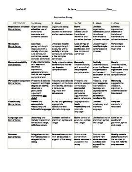 Ap Language Composition Persuasive Essay Rubric by Ap Persuasive Essay Rubric By Viva La Vida Tpt