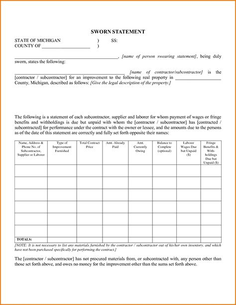 sworn statement templates best resumes