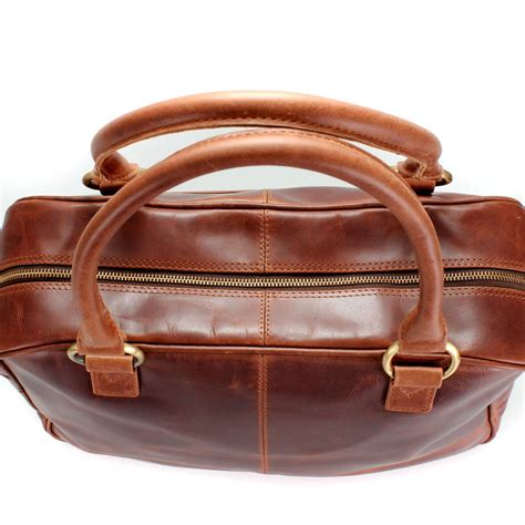 Handcraft Leather - handcrafted leather holdall brown by the leather store