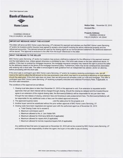Money Loan Approval Letter Falls Church Va Sale Approved Bank Of America Will Not Pay Attorney Fees On Sales