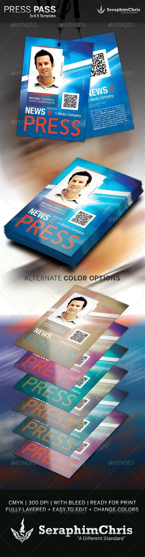 Press Pass Template 3 Colors Photoshop And Presentation Media Pass Template Photoshop