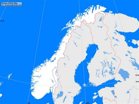 bodies of water list norway outline map a learning family