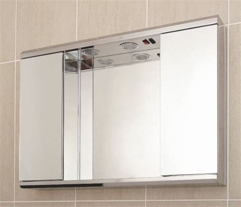 illuminated bathroom cabinets mirrors shaver socket hazelhead design deluxe stainless steel double door