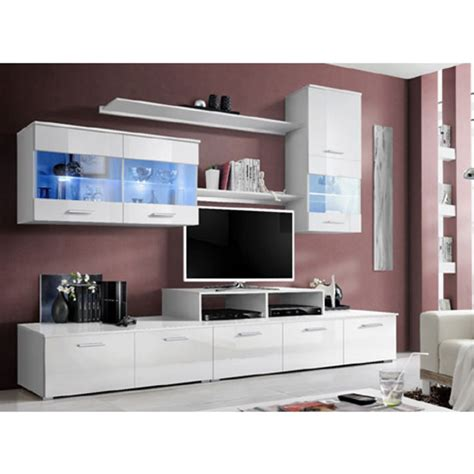 White Gloss Living Room Furniture Sets Ashton Living Room Set In White High Gloss With Lighting 258