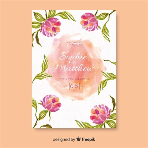 colorful watercolor floral wedding invitation template