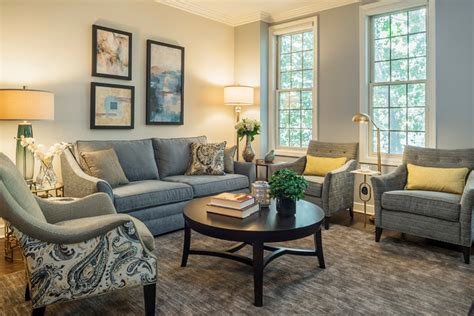 Grey, Blue and Gold   Traditional   Living Room   Chicago